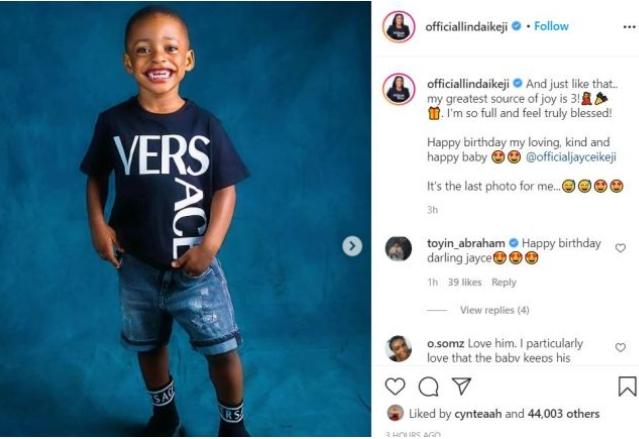 Linda Ikeji Mark Son's 3rd Birthday, Changes His Surname
