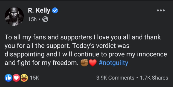 I'll Continue To Prove My Innocence And Fight For My Freedom- R. Kelly