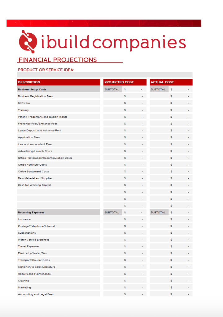 Financial Projections Plan Template - free download from ibuildcompanies.com by Jeanne Heydecker