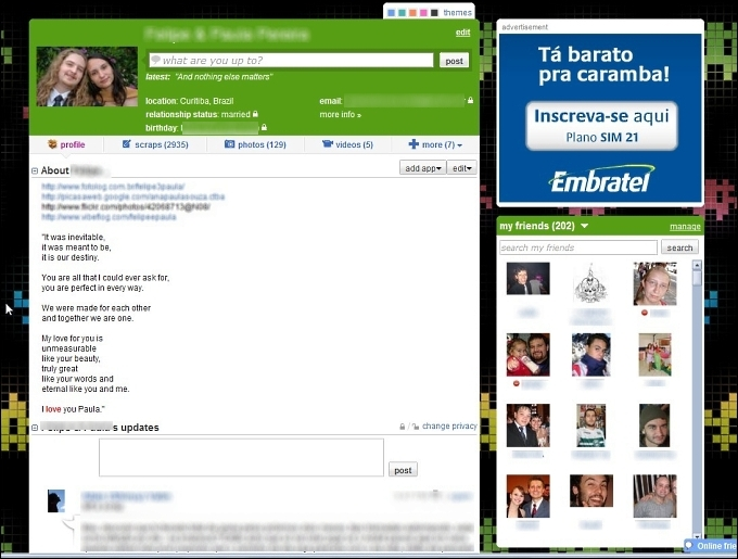 Página de perfil do Orkut