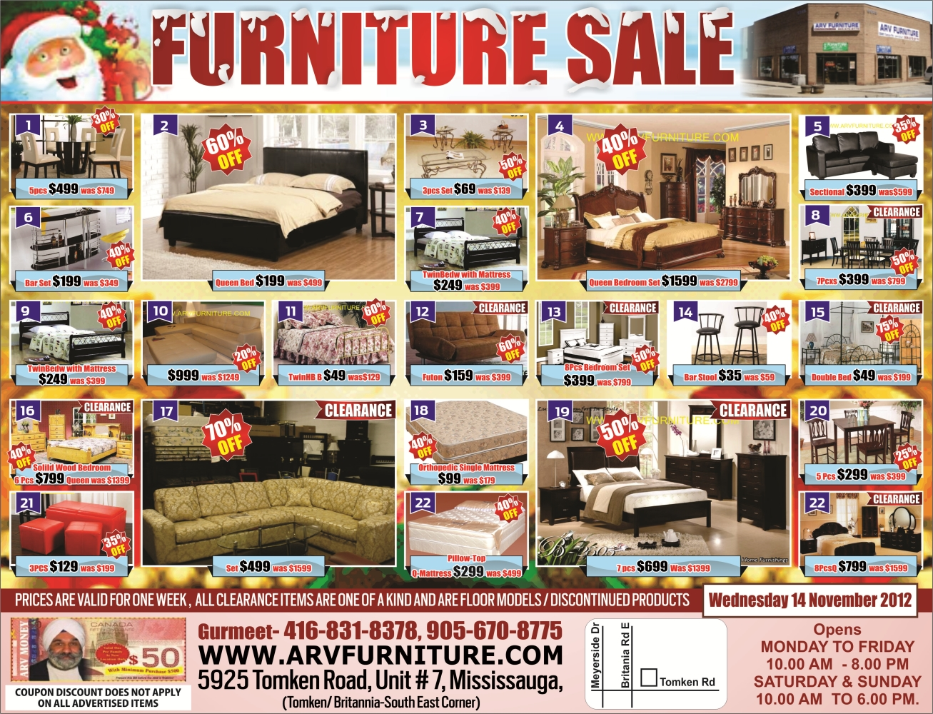 Arv Furniture Mississauga Toronto Weekly Flyer Early