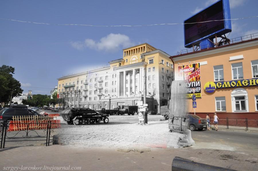 19.Smolensk 1941-2013 German vehículo blindado en la Plaza de la Victoria