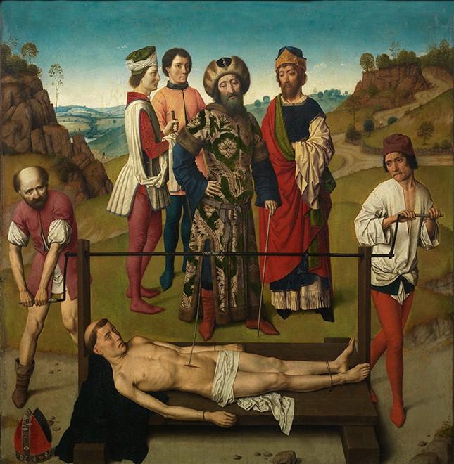 Мученичество святого Эразма. Картина Дирка Баутса. 1458 год Церковь Святого Петра в Лёвене