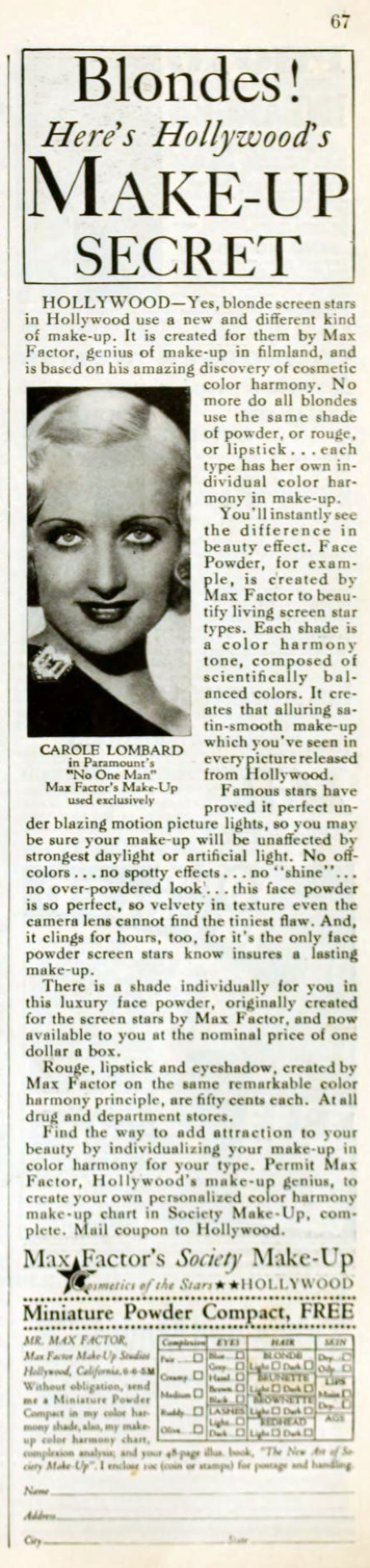 carole lombard picture play june 1932 ad large