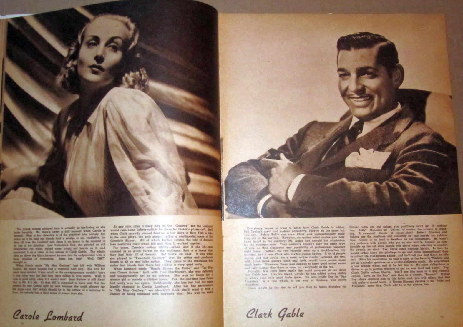 carole lombard screen album for 1937 clark gable large