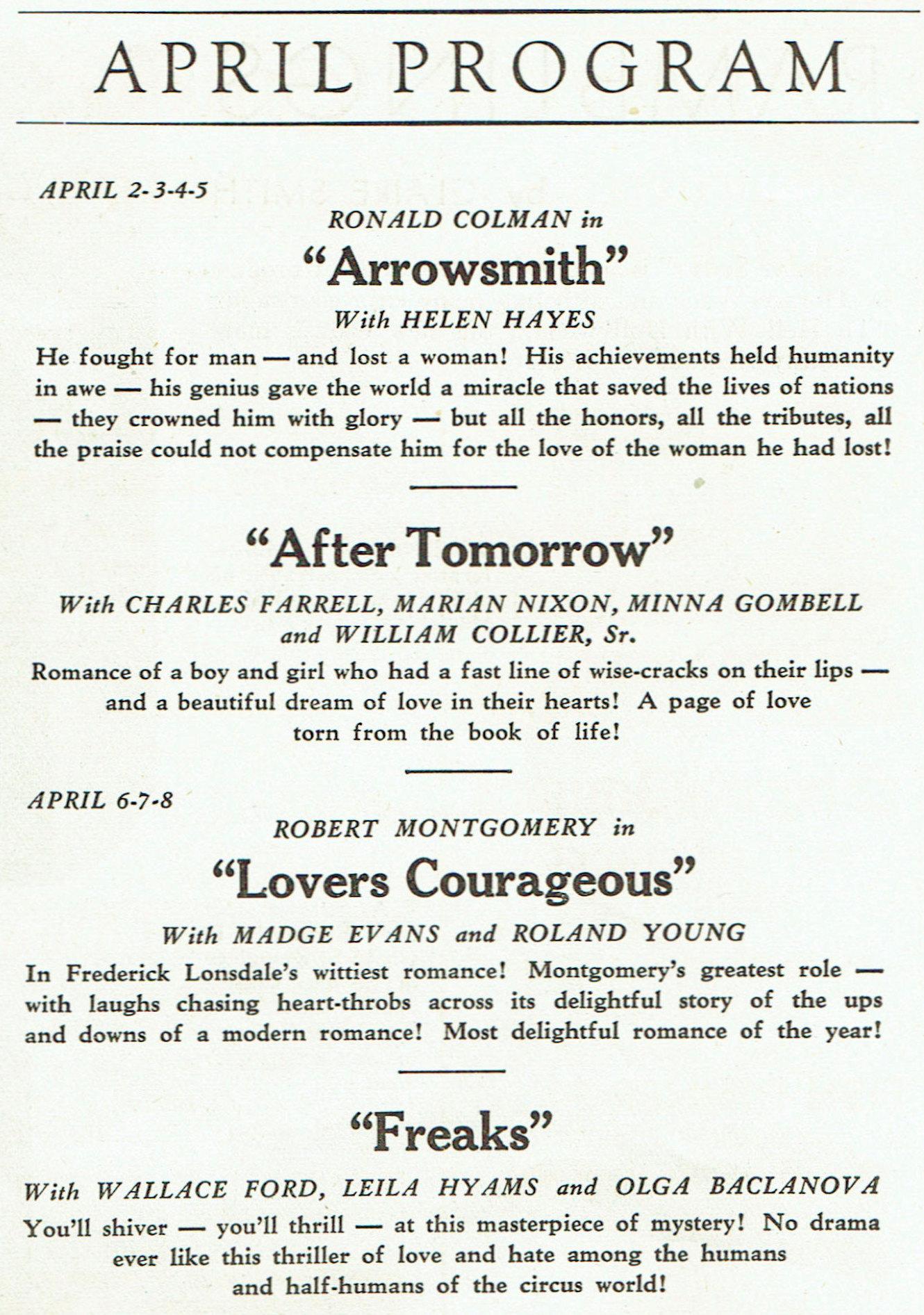 carole lombard publix theatre screen review april 1932hb