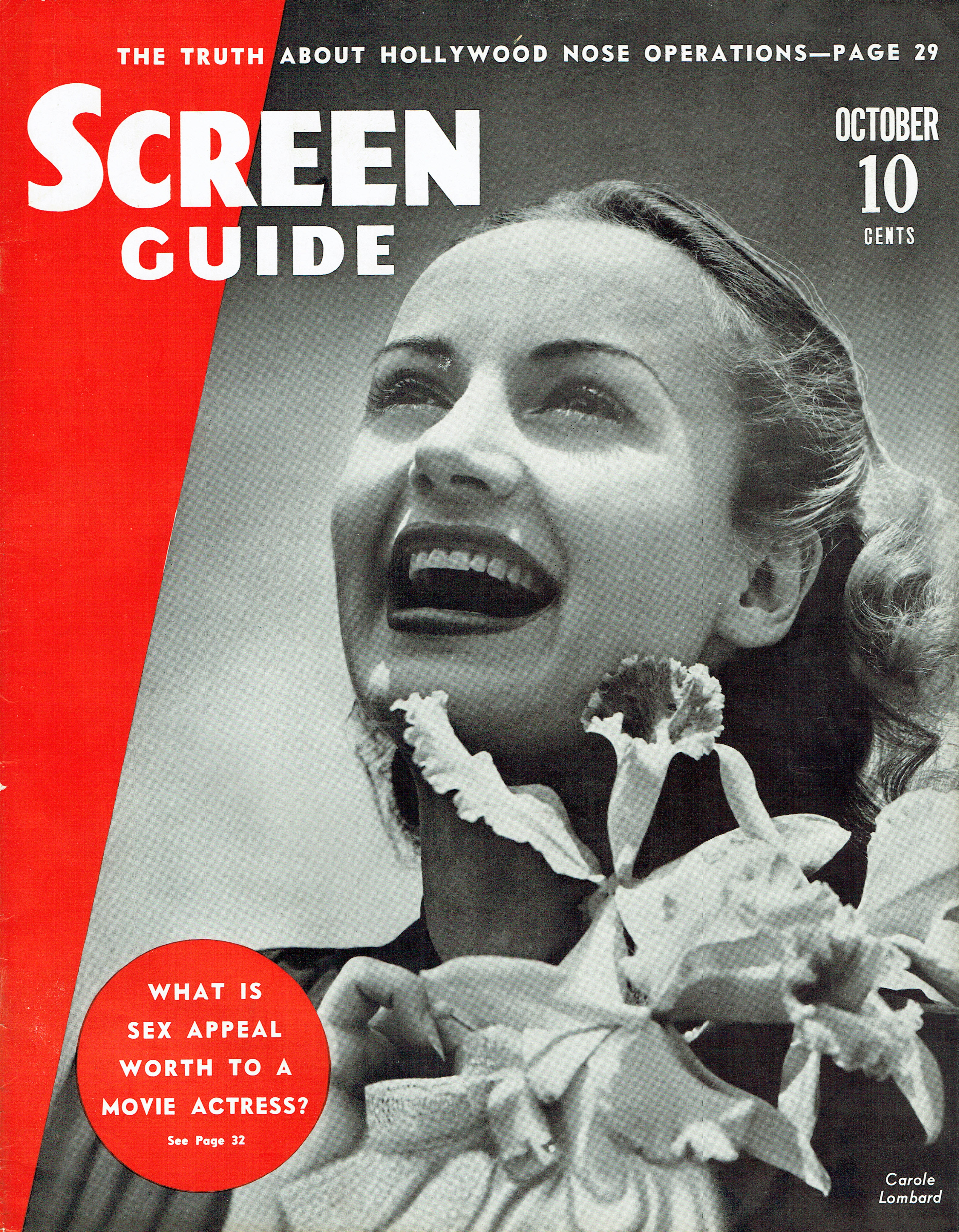 carole lombard screen guide october 1938 cover
