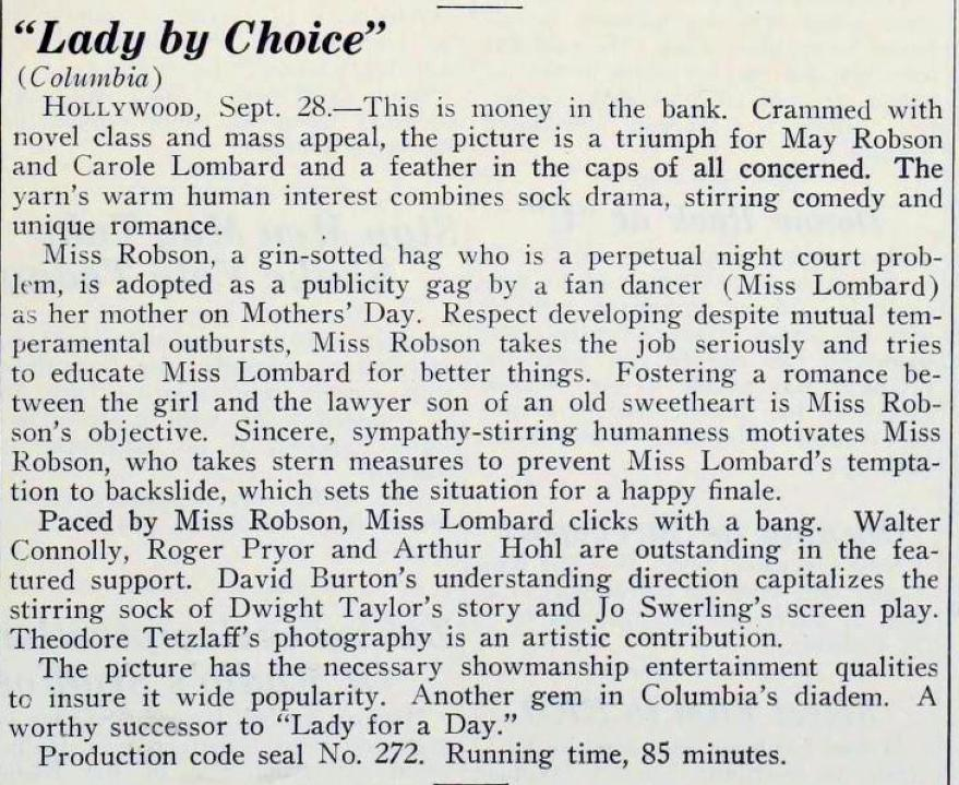 carole lombard lady by choice 092934b motion picture daily