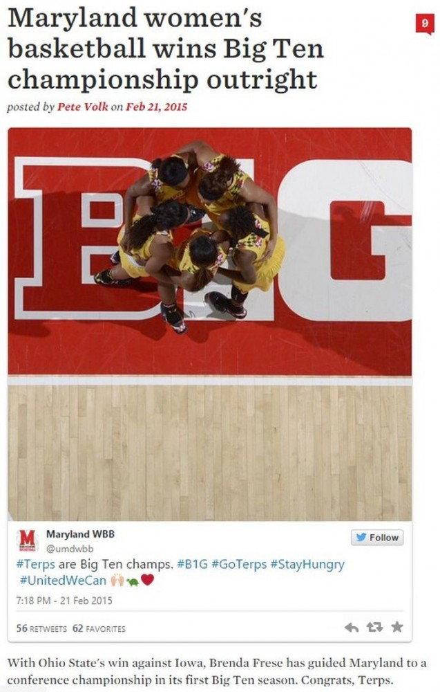 maryland women's basketball big ten champs 2014-2015