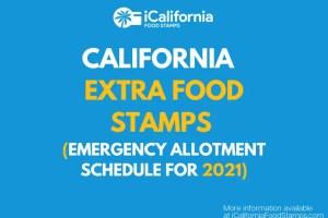 """""""California CalFresh Emergency Allotment Payment Chart"""""""