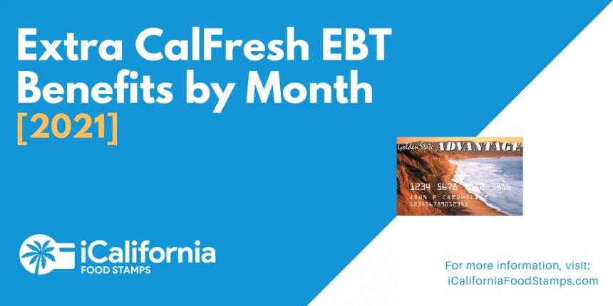 """Extra CalFresh SNAP EBT Benefits by Month"""