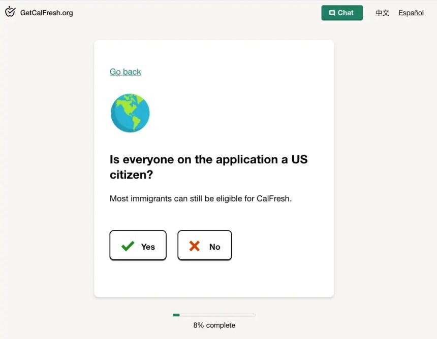 """""""CalFresh application citizenship"""""""