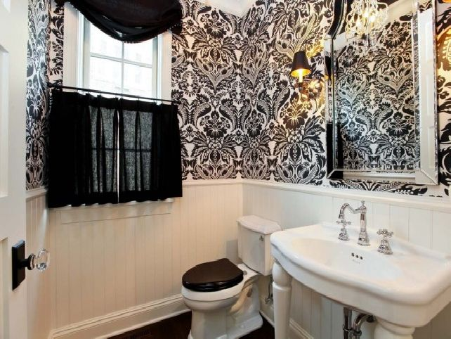Black And White Bathroom Wallpaper Decor IdeasDecor Ideas