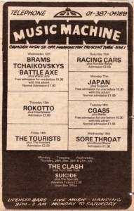 I saw many bands at the Music Machine, The Psychedelic Furs in 1979 being a memorable one.