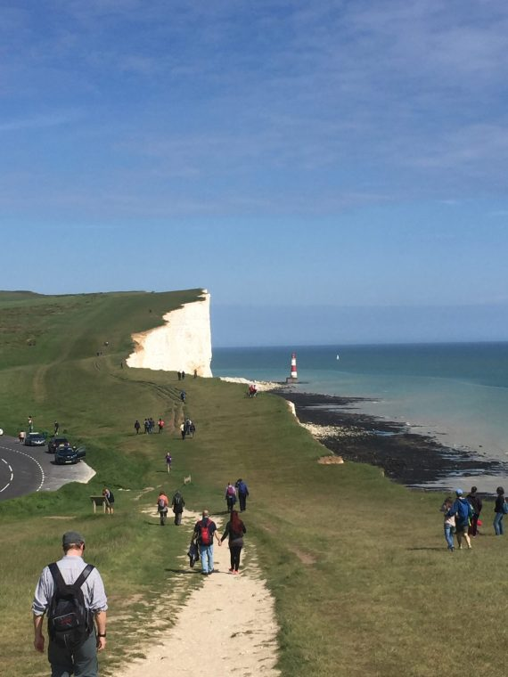 picture of walkers at Beachy Head