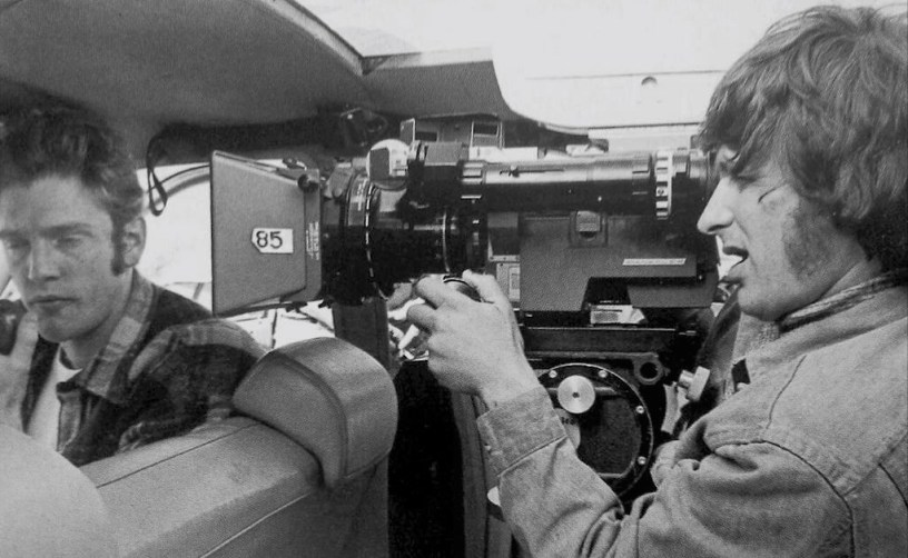 Steven Spielberg operating a camera on the set of THE SUGARLAND EXPRESS.