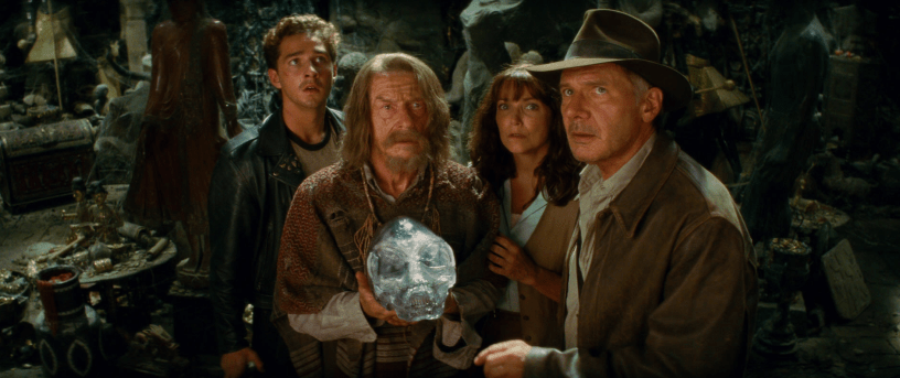 Shia LaBeouf John Hurt, and Karen Allen co-star with Harrison Ford in INDIANA JONES AND THE KINGDOM OF THE CRYSTAL SKULL (2008)