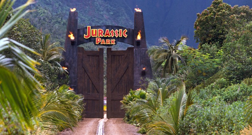 The entrance to the land of dinosaurs in Steven Spielberg's JURASSIC PARK (1993)
