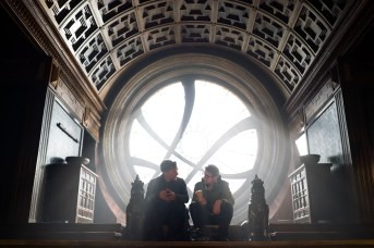 Marvel's DOCTOR STRANGE L to R: Benedict Cumberbatch (Doctor Strange) and Director Scott Derrickson on set. Photo Credit: Jay Maidment ©2016 Marvel. All Rights Reserved.
