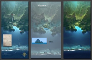 Visual development for the island of Motunui, and the layout of the village. Artist: Andy Harkness, MOANA Art Director, Environments and Color.