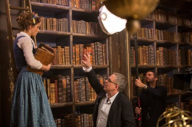 Beauty and the Beast (2017) Emma Watson on set with director Bill Condon.