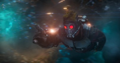 Star-Lord, Rocket, and Baby Groot fly in GUARDIANS OF THE GALAXY, VOL. 2