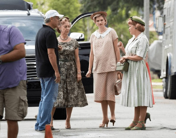 George Clooney and Cast on set of SUBURBICON.