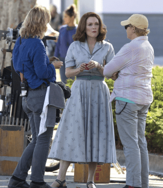 Julianne Moore on set of SUBURBICON.