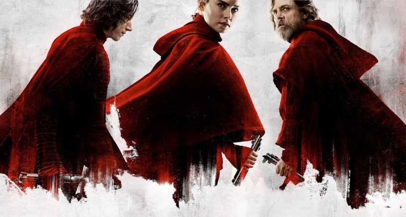 Adam Driver (Kylo Ren), Daisy Ridley (Rey), and Mark Hamill (Luke Skywalker) star in STAR WARS: THE LAST JEDI (2017)