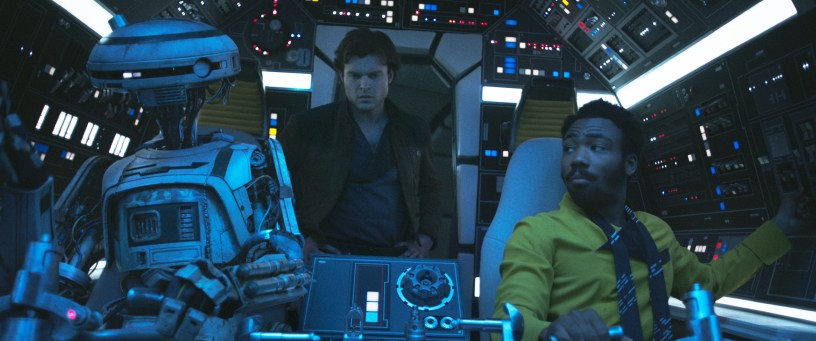 Phoebe Waller-Bridge, Alden Ehrenreich, and Donald Glover in SOLO: A STAR WARS STORY