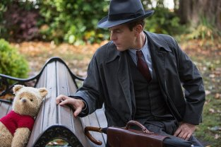Jim Cummings as the voice of Pooh and Ewan McGregor as Christopher Robin in Disney's CHRISTOPHER ROBIN