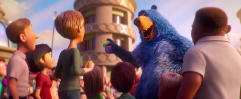 Boomer the Blue Bear greets guests in Paramount Animation's WONDER PARK