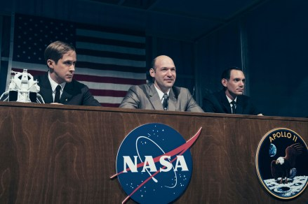 L to R: Ryan Gosling, Corey Stoll, and Lukas Haas in FIRST MAN. On the heels of their six-time Academy Award®-winning smash, La La Land, Oscar®-winning director Damien Chazelle and star RYAN GOSLING reteam for Universal Pictures' First Man, the riveting story of NASA's mission to land a man on the moon, focusing on Neil Armstrong and the years 1961-1969.