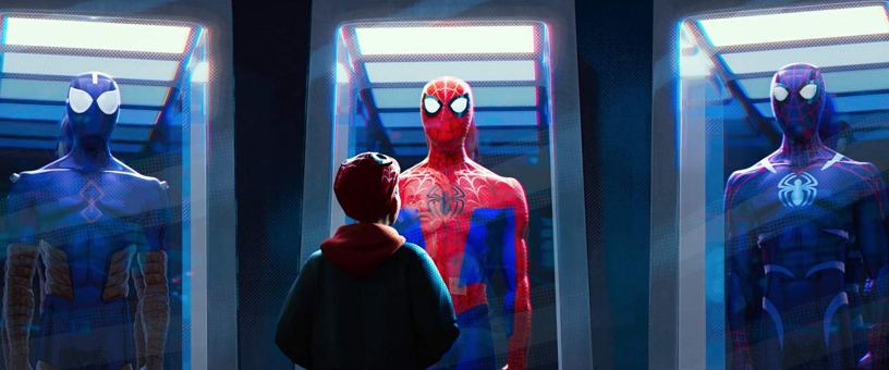 A hall of spidey-suits in SPIDER-MAN: INTO THE SPIDER-VERSE (2018)