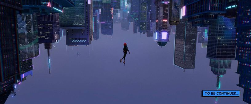 Miles Morales suspends upside down in SPIDER-MAN: INTO THE SPIDER-VERSE (2018)