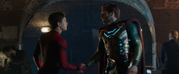 Tom Holland as Spider-Man and Jake Gyllenhaal as Mysterio in SPIDER-MAN: FAR FROM HOME (2019)
