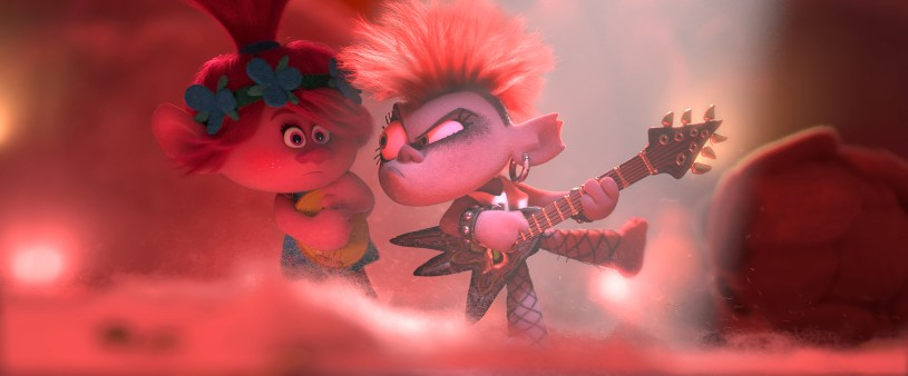 (from left) – Poppy (Anna Kendrick) doesn't know quite what to make of Queen Barb (Rachel Bloom), who rules the land of Rock, in Trolls World Tour, directed by Walt Dohrn.