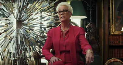 Jamie Lee Curtis co-stars in the murder mystery KNIVES OUT (2019)