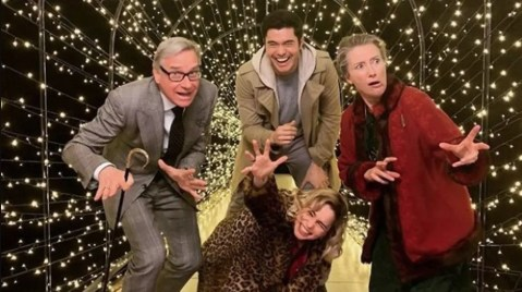 Director Paul Feig, Henry Golding, Emilia Clarke, and screenwriter / co-star Emma Thompson on the set of LAST CHRISTMAS (2019)