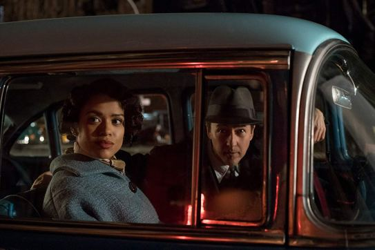 Gugu Mbatha-Raw and Edward Norton star in the crime drama MOTHERLESS BROOKLYN (2019)