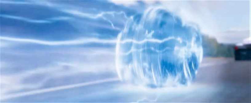 Sonic zooms in his ball of electric blue in the animation / live action hybrid SONIC THE HEDGEHOG (2020)