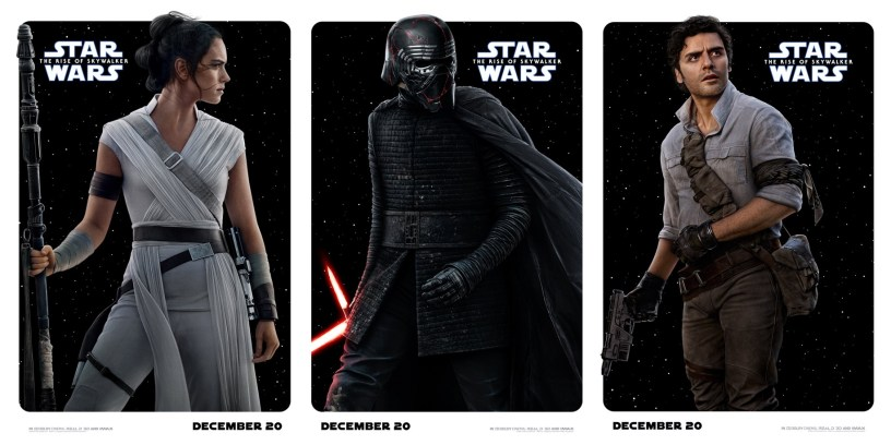 Rey, Kylo Ren, and Poe Dameron Character Posters for STAR WARS: THE RISE OF SKYWALKER (2019)