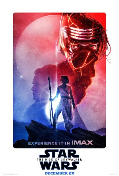 The profiles of Luke and Leia flank Rey and Kylo Ren in a new IMAX poster for STAR WARS: THE RISE OF SKYWALKER (2019)