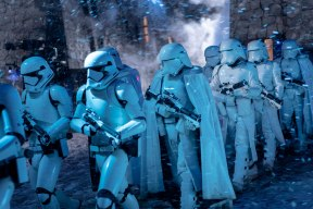 Stormtroopers on the march in STAR WARS: THE RISE OF SKYWALKER (2019)
