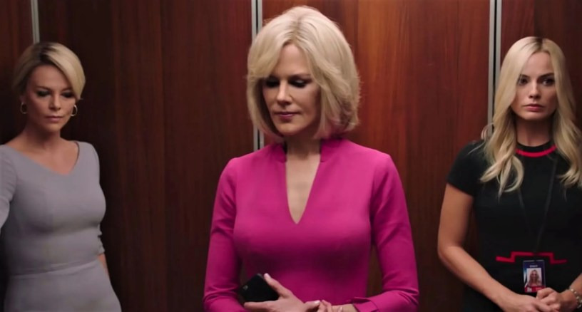 Charlize Theron (Megyn Kelly), Nicole Kidman (Gretchen Carlson), and Margot Robbie (the fictional Kayla Pospisil) star in the Fox News sex scandal drama BOMBSHELL (2019)