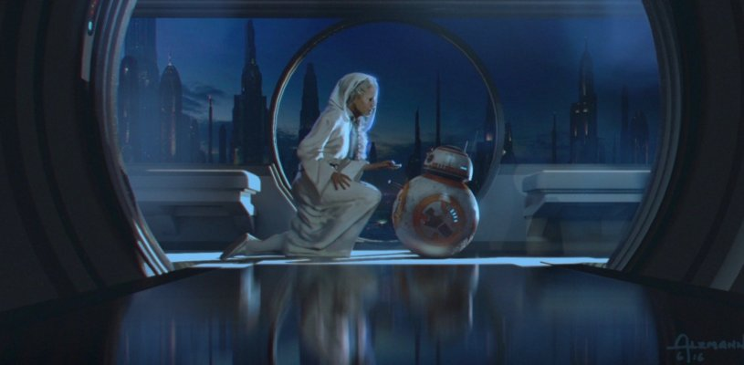 General Leia places information into the memory banks of BB-8 in STAR WARS: DUEL OF THE FATES
