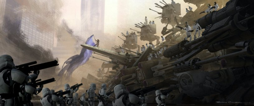 The First Order and the Resistance face off at the beginning of the Battle on Coruscant in STAR WARS: DUEL OF THE FATES