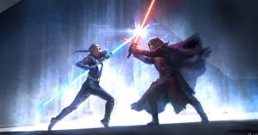 Rey battles Kylo Ren in a climactic lightsaber duel in the realm of Mortis in STAR WARS: DUEL OF THE FATES