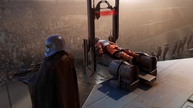 Resistance spy Bisc Kova is executed by a light blade guillotine on Coruscant in STAR WARS: DUEL OF THE FATES