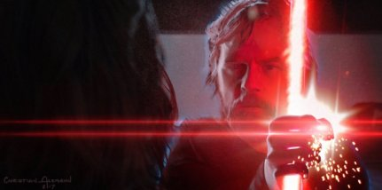 The Force Ghost of Luke confronts Kylo Ren on Mustafar in STAR WARS: DUEL OF THE FATES